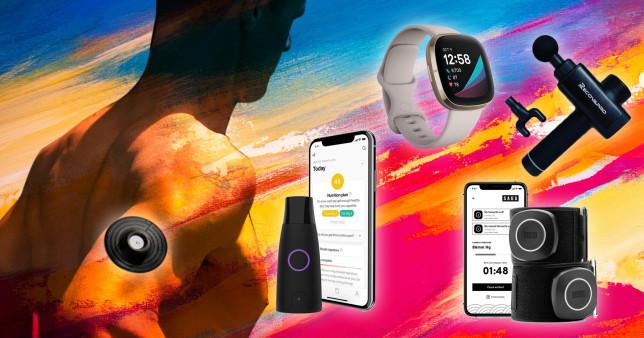 Graphic background with l-r Supersapiens, Lumen, FitBit Sense, Recovapro and Saga Fitness Blood Flow Restriction (BFR) cuffs