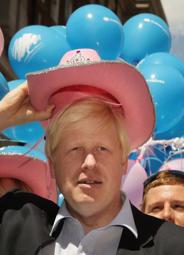 Boris Johnson wears a pink stetson hat at London's 2008 Pride march when he was mayor