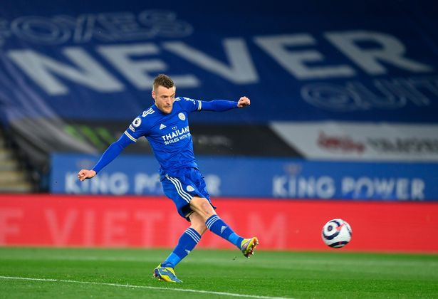 Jamie Vardy scored just his second goal of 2021 to give Leicester the lead