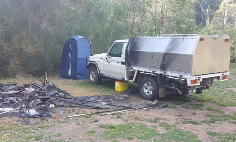 Clay and Hill's burnt-out campsite.