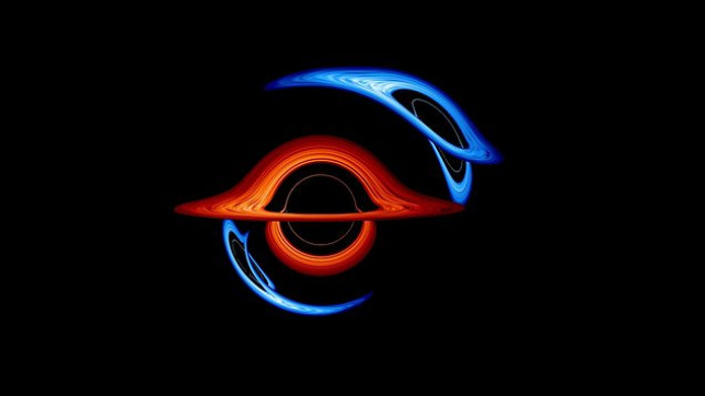 A pair of black holes millions orbit each other in this Nasa visualisation. (Nasa)