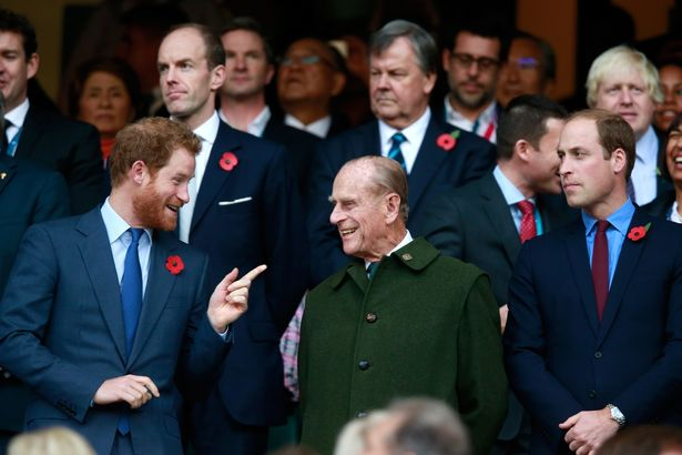 Prince Harry, Prince Phillip and Prince William enjoy the atmosphere during the 2015 Rugby World Cup Final