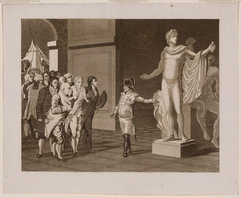 Napoleon shows off the Apollo del Belvedere and the Laocoon Group upon his return from Italy.