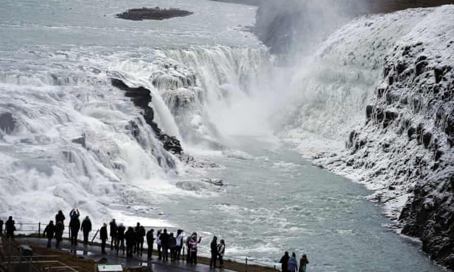Visitors at Gullfoss waterfall in south-west Iceland in 2019