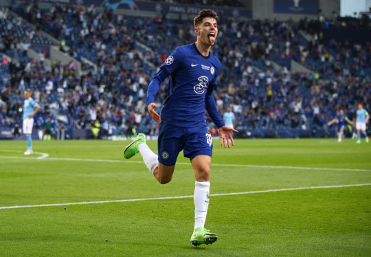 Kai Havertz of Chelsea celebrates after scoring their team's first goal during the UEFA Champions League Final between Manchester City and Chelsea FC at Estadio do Dragao on May 29, 2021 in Porto, Portugal