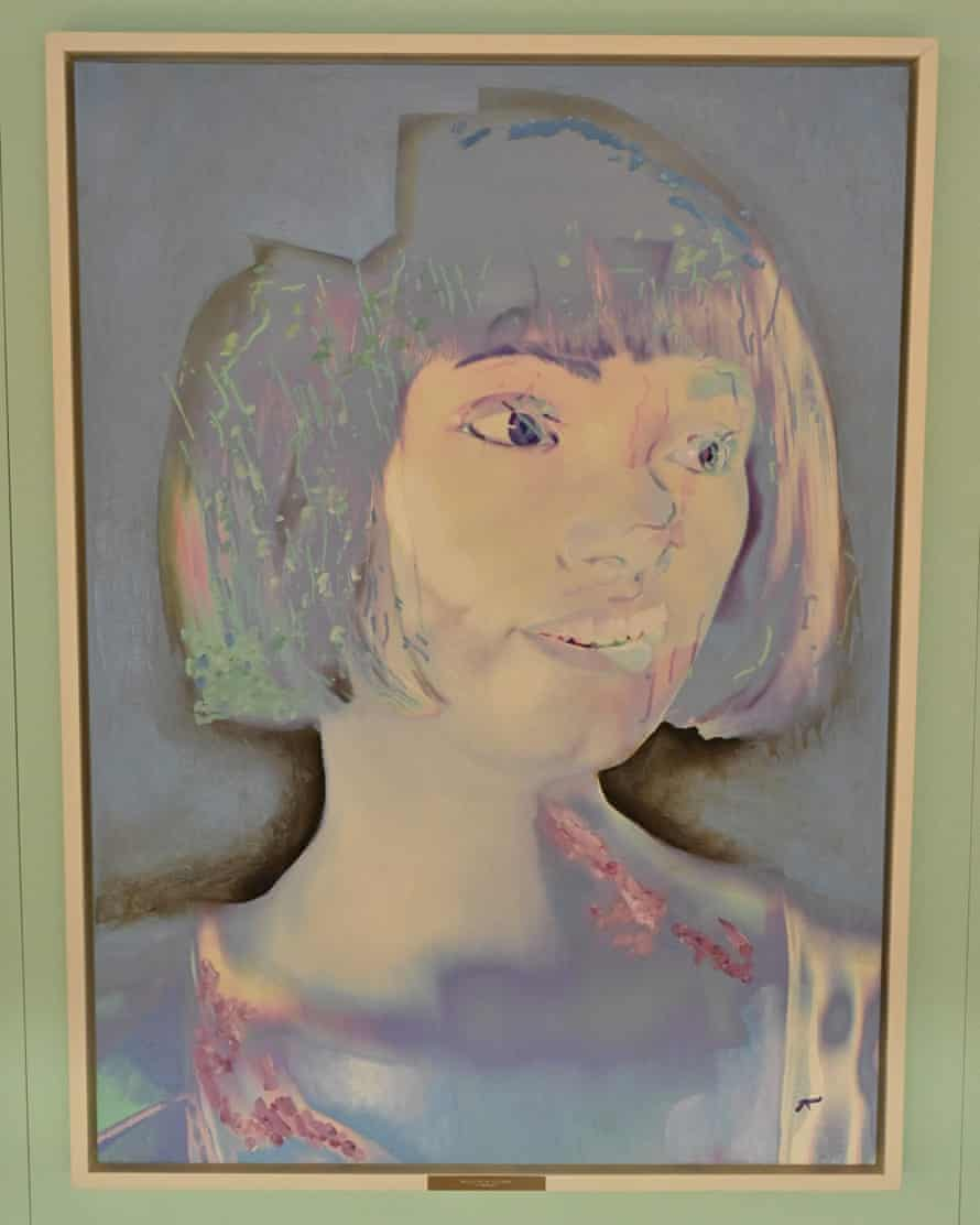 One of Ai-Da's self-portraits in a mix of pastel colours