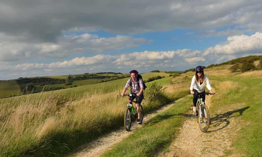 Cycling along the South Downs Way, East Sussex.