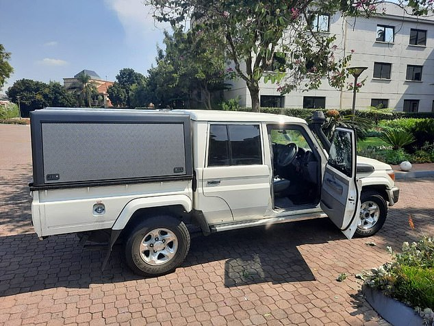The other car full of gunmen fired at least 13 shots into the vehicle but expert marksman and highly trained sniper Leo remained unperturbed. His vehicle is pictured above after the attack