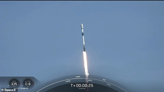 The flight, called Starlink 25, is the 13th mission of 2021 for the Elon Musk-owned firm and the third time the Falcon 9 rocket has ventured into space