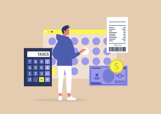 Illustration of man filing tax return