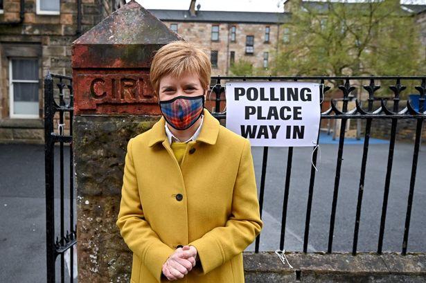 Mrs Sturgeon met voters at Annette Street school polling station in Glasgow, Scotland, today