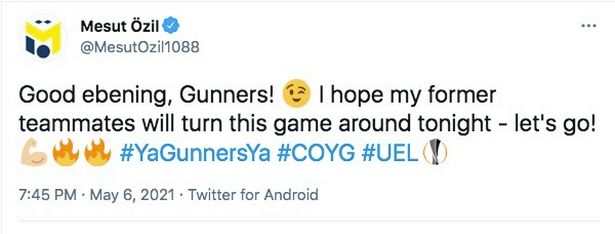 Mesut Ozil had a message for his former club before the game