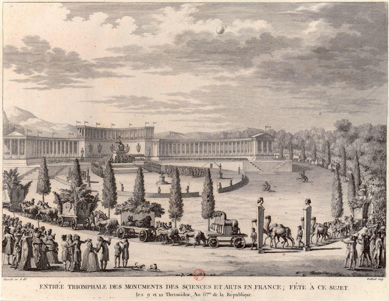 An engraving by Pierre Gabriel Berthault showing the arrival of art and exotic animals taken by Napoleon during his first Italian campaign.