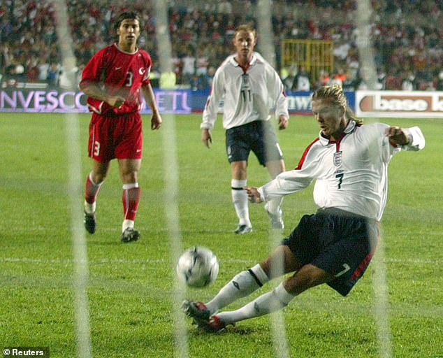 Pictured, David Beckham's penalty slip against Turkey in qualifying for Euro '04 against Turkey