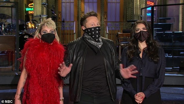 Oops!Indirectly addressing the controversy surrounding his appearance in the clip, he said: 'Hi, I'm Elon Musk, and I'm hosting SNL this week with musical guest Miley Cyrus. And I'm a wild card, so there's no telling what I may do'