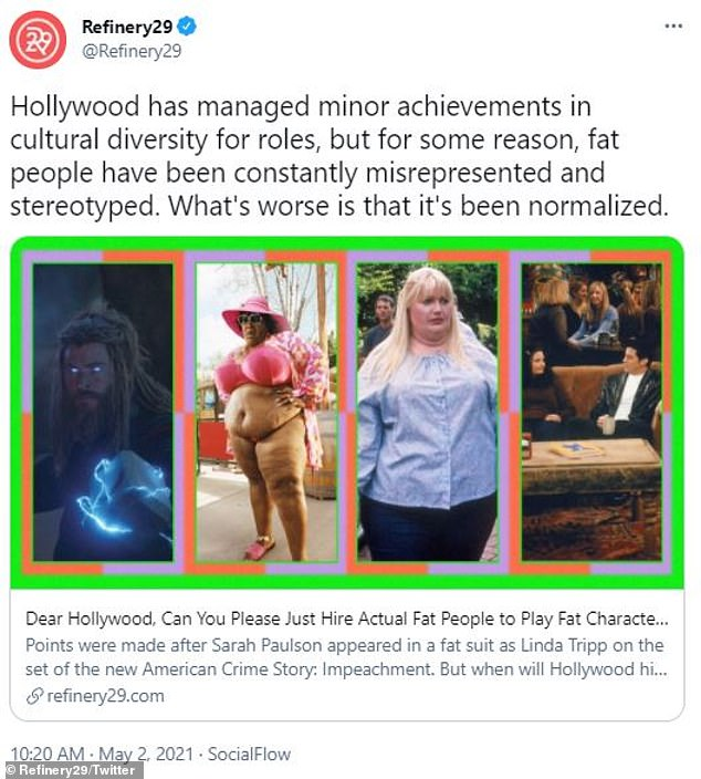 'Dear Hollywood, can you please just hire actual fat people?' However, pictures of Paulson on set from April 26 confirm she definitely had help from padding or a fat suit, which was blasted in an April 30 article by Refinery29