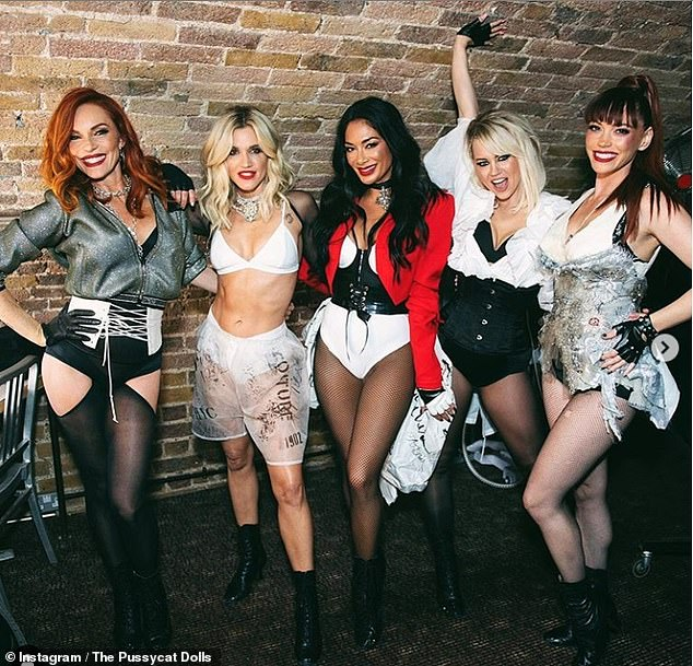 Back on the road: The Pussycat Dolls - consisting of Ashley, Nicole Scherzinger, Kimberly Wyatt, Carmit Bachar and Jessica Sutta - are scheduled to go on tour this month (pictured last year)