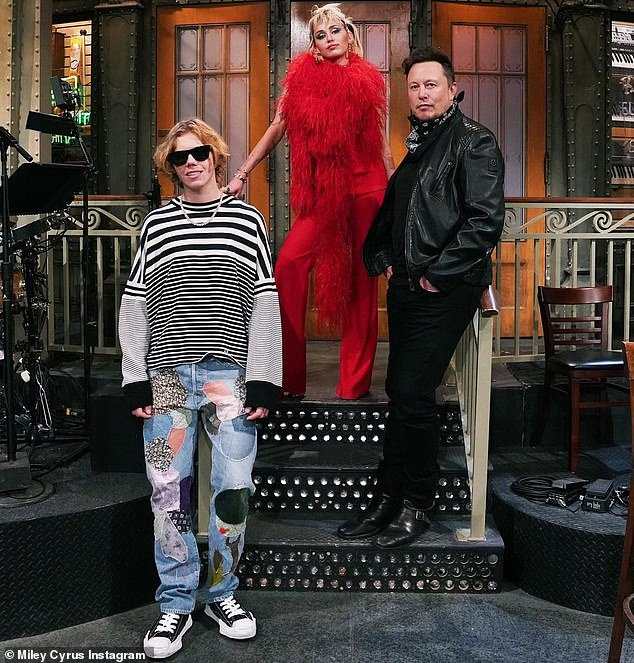 Trio: The Kid Laroi, who recently featured Miley on a remix of his song Without You, will also be performing with her on this weekend's episode of Saturday Night Live