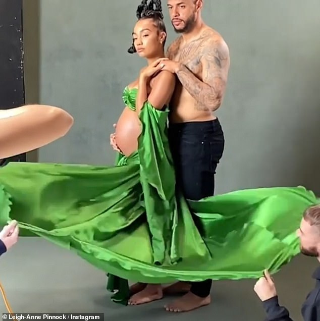 A further glimpse: Leigh-Anne and Andre appeared to be having fun on their shoot, with the couple later seen sharing a laugh on set