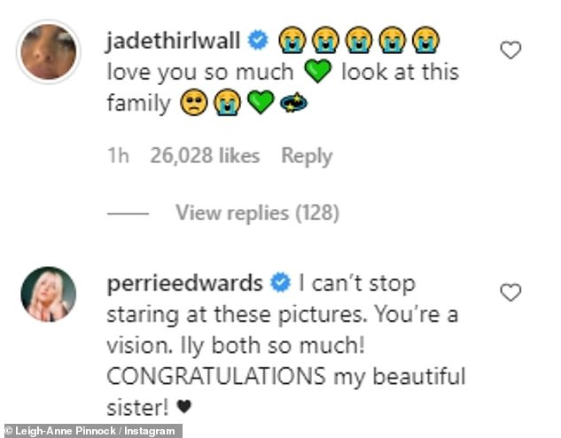 An honour:Her Little Mix bandmates Jade Thirlwall, 28, and Perrie Edwards, 27, alongside a host of other stars were quick to congratulate the star