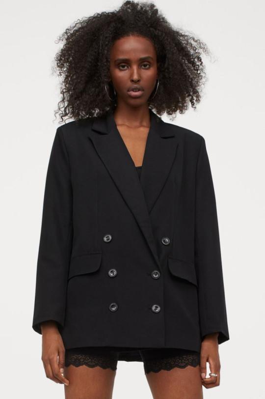 h&m oversized black jacket