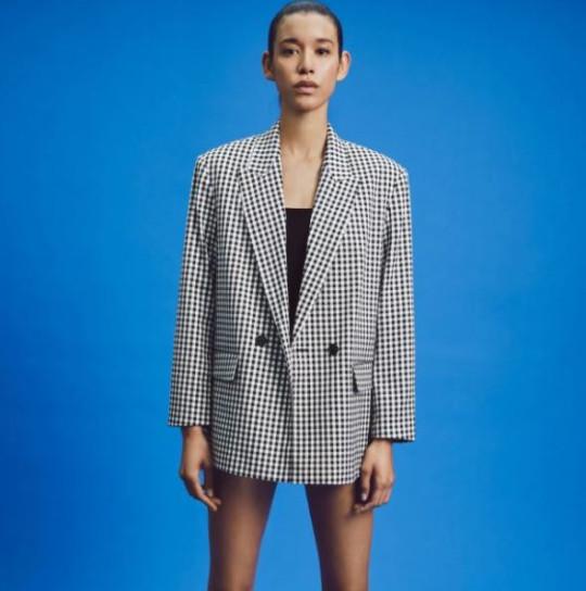 zara oversized checked blazer