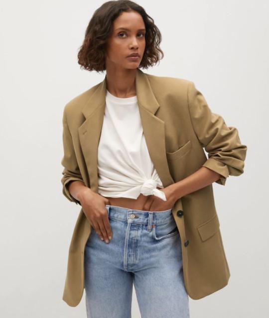 brown lyocell blazer