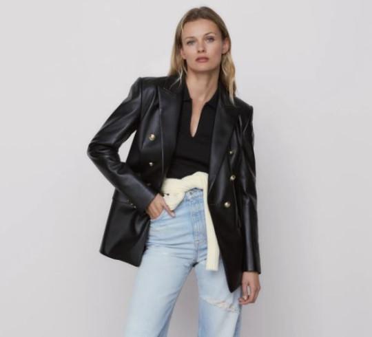 zara faux leather blazer
