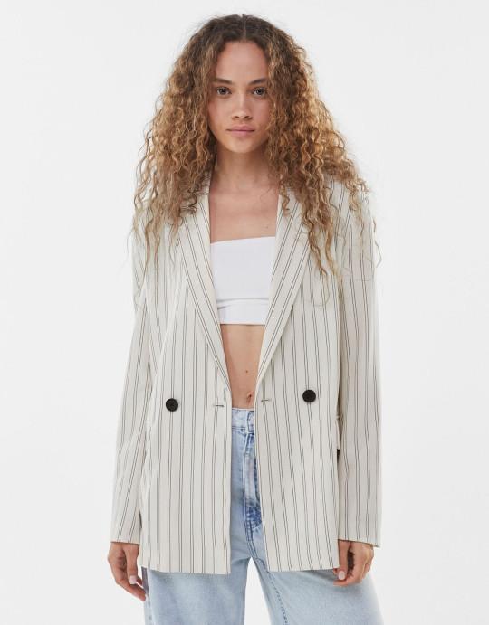 bershka striped blazer