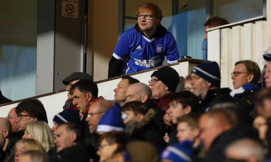 Ed Sheeran watches his team play Sheffield United.