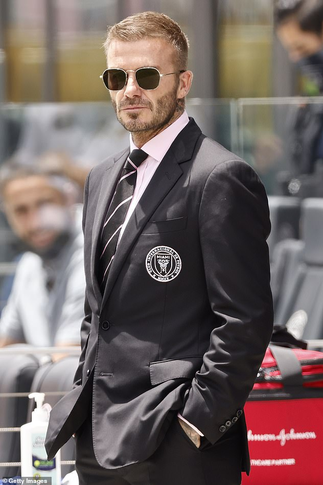 Stylish:He's the co-owner of US football club Inter Miami, and David Beckham, 46, made sure to support his players as they faced off against Atlanta United in Fort Lauderdale on Sunday