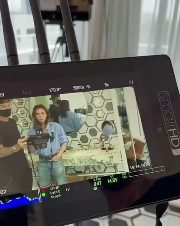 Shoot time! Also on Friday, her husband David Beckham, 46, proved he really can do it all as he turned director for Victoria and shot her eponymous beauty line in a throwback video