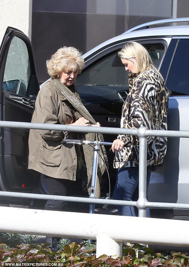 Visit: Patti, who recently broke her ankle, had been pictured visiting her husband in hospital in Melbourne on April 28, accompanied by her daughter, Lauren