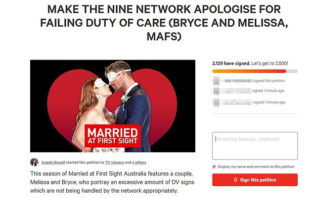Problematic: It comes after Channel Nine refused to apologise for airing controversial scenes involving Bryce and Melissa, despite more than 12,000 viewers signing a Change.org petition calling for Nine to apologise for airing 'triggering' scenes depicting domestic violence