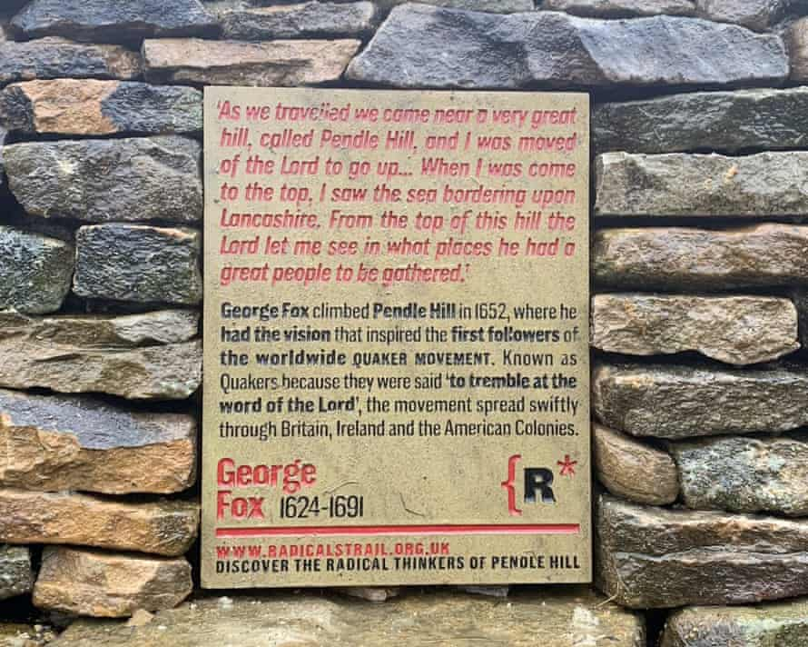 George Fox plaque on Pendle Hill is part of a Pendle Radicals Trail.