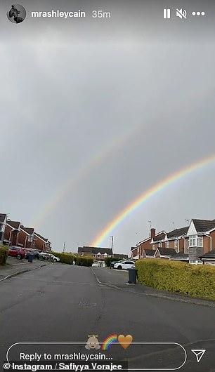 Amazing: Ashley also posted the double rainbows