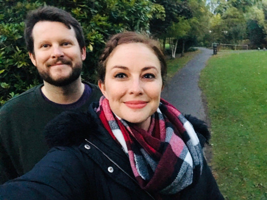 Emily and Chris on a walk