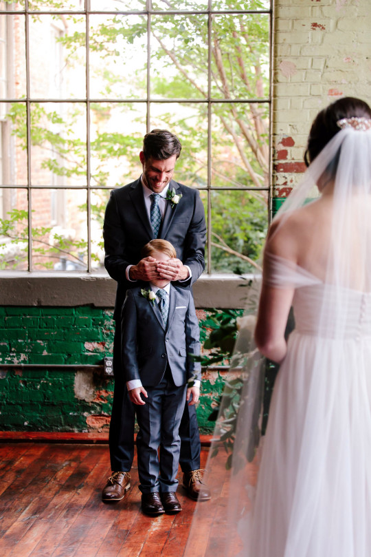 These images show the adorable moment ten-year-old Jude Seabolt burst into tears after seeing his new stepmum Rebekah Seabolt in her wedding dress at her wedding to his father Tyler Seabolt.
