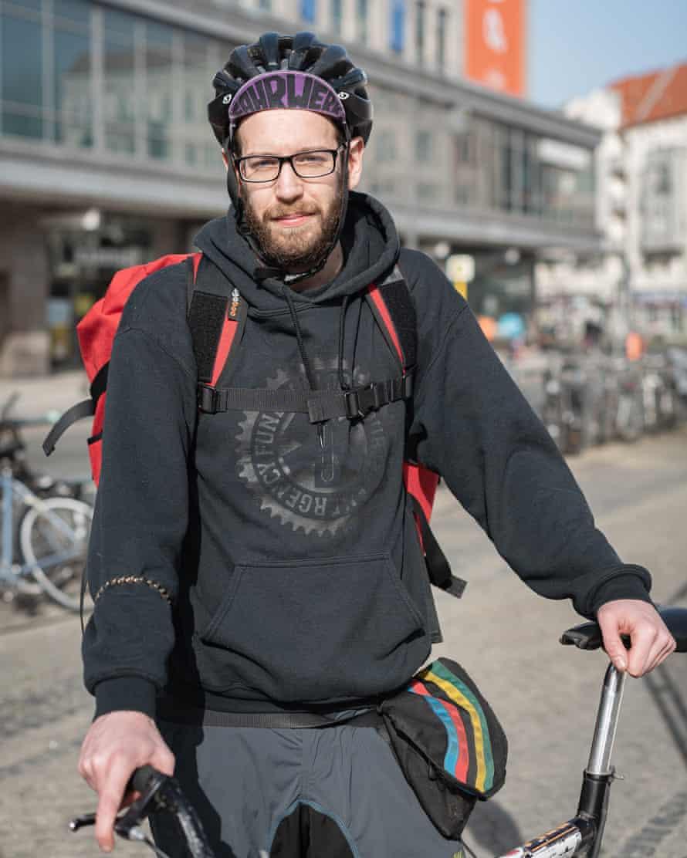 Mattia Carraro of the Khora collective taking a break at Hermannplatz, Berlin