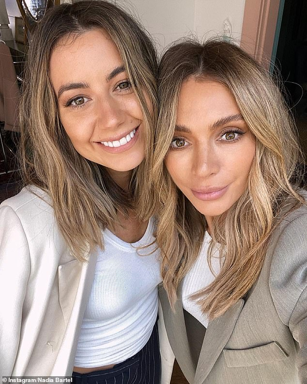 Sister act: It comes after Nadia's lookalike sister and business partner, Michelle Coppolino, called the fashion designer 'my fav human & best mumma'