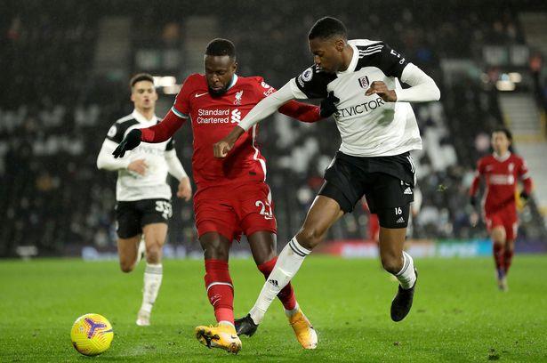 Fulham's Tosin Adarabioyo battling Liverpool's Divock Origi