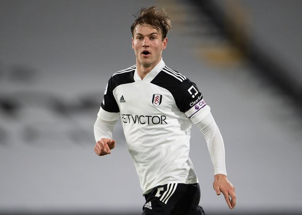Joachim Andersen of Fulham during the Premier League match between Fulham and Tottenham Hotspur at Craven Cottage on March 04, 2021 in London, England.