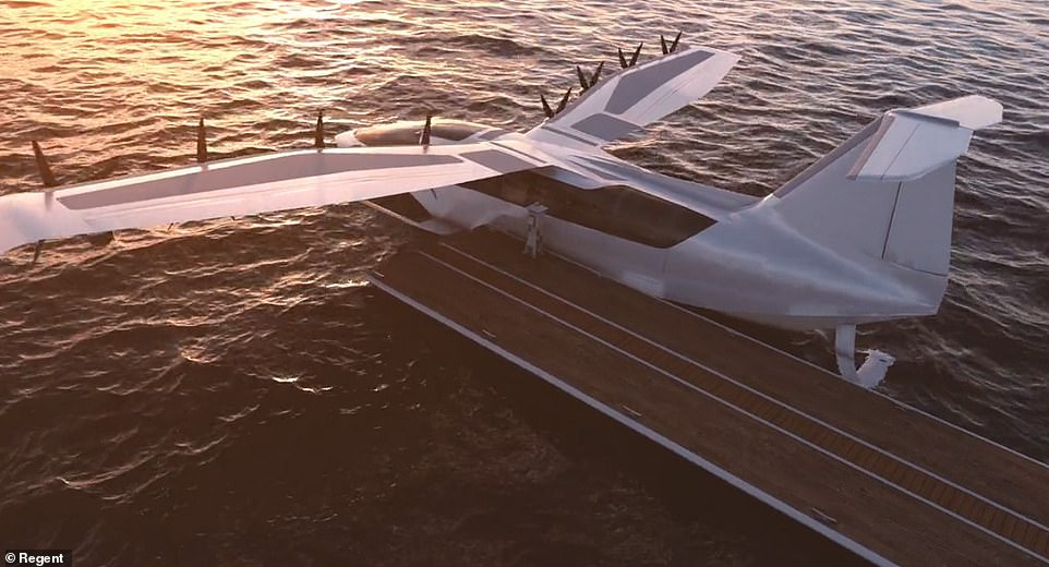 The hybrid craft embarks on trips from a dark at low speeds up to 45mph and when it reaches open waters, the vehicle takes off and reaches 180mph as it stays within one wingspan of the water's surface