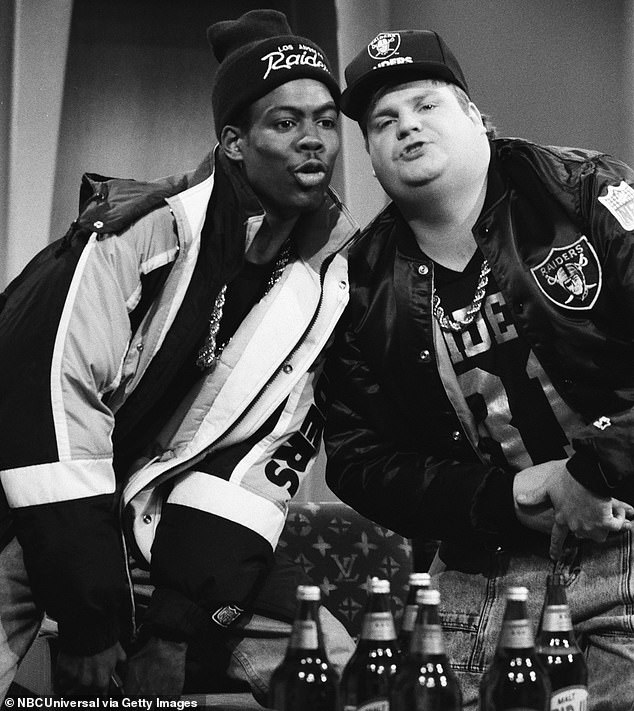 Throwback:While chatting with the latest issue of Esquire he also reflected on the last time he saw his old friend Chris Farley; they are pictured in 1991 on Saturday Night Live