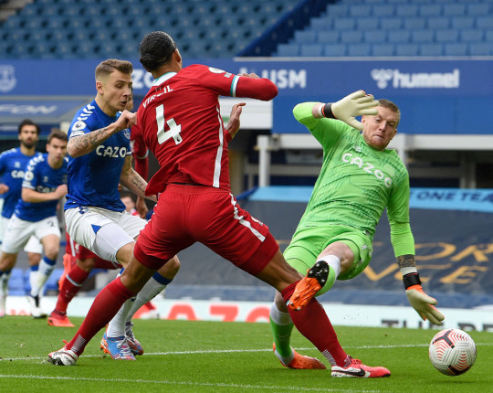 Virgil van Dijk was ruled out for the season following a high challenge from Jordan Pickford