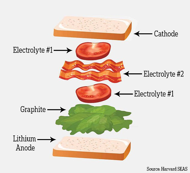 Think of the battery like a BLT sandwich. First comes the bread (the lithium metal anode) followed by lettuce (a coating of graphite). Next, a layer of tomatoes (the first electrolyte) and a layer of bacon (the second electrolyte). Finish it off with another layer of tomatoes and the last piece of bread (the cathode)