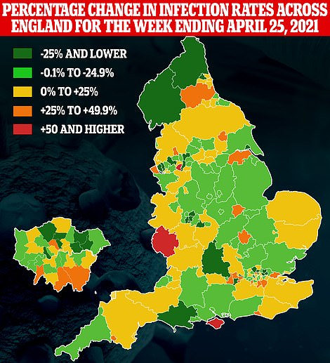 Public Health England figures show infection rates rising in yellow, orange and red areas in the week ending April 25