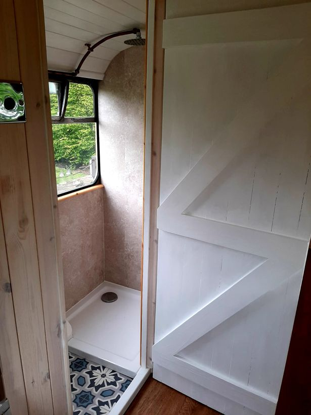 The shower on the bus
