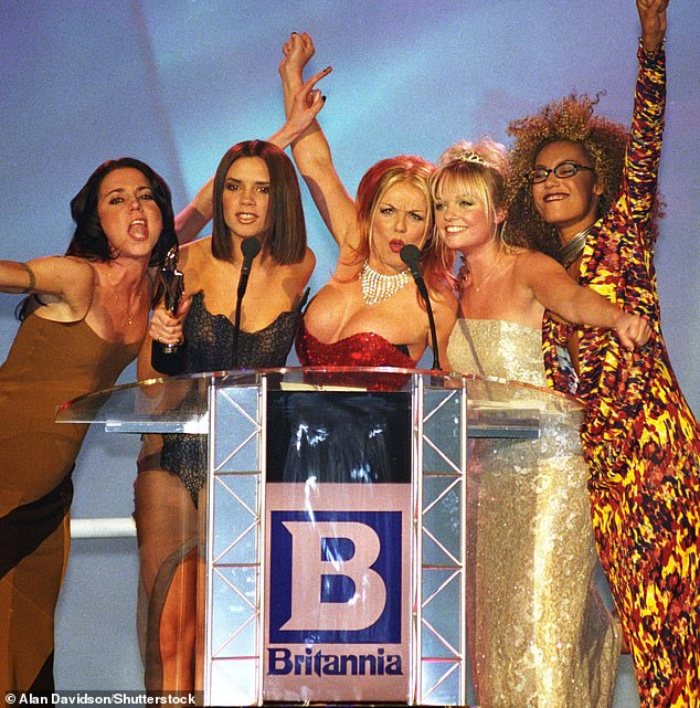 24 years later:The Spice Girls posted to their collective Instagram account ahead of the ceremony, with a snap from their groundbreaking appearance at the 1997 ceremony [pictured L-R Mel C, Victoria Beckham, Geri Horner, Emma Bunton, Mel B]