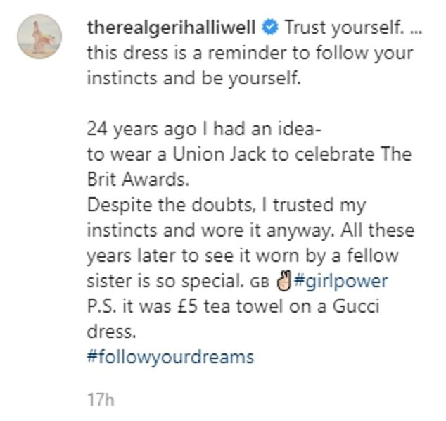 Sending a message: Posting a throwback of her in the iconic look, Geri reminded her fans to 'trust yourself' and 'follow your dreams'